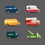 Grupo do vetor de veículos urbanos que caracterizam o carro de polícia, ambulância, sc ilustração stock