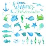 Grupo do vetor de vida marinha da aquarela ilustração stock