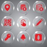 Grupo do vetor de vidro dos ícones Fotografia de Stock