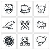 Grupo do vetor de Viking Icons Imagens de Stock Royalty Free