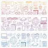 Grupo do vetor de volta a ícones da escola no estilo da garatuja Pintado, colorido, inclinação em uma parte de papel linear no br ilustração do vetor