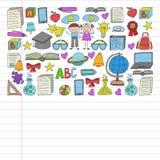 Grupo do vetor de volta a ?cones da escola no estilo da garatuja Pintado, colorido, imagens em uma parte de papel linear no fundo ilustração do vetor
