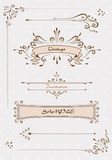 Grupo do vetor Decoração da página do vintage, elementos caligráficos, quadros Vetor Fotos de Stock Royalty Free