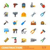 Grupo do vetor do ícone da construção grande Fotos de Stock Royalty Free