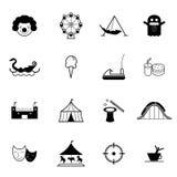Grupo do vetor do ícone do parque de diversões e do parque temático Fotos de Stock Royalty Free