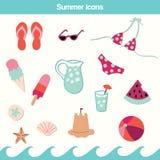 Grupo do vetor do ícone do verão ilustração stock