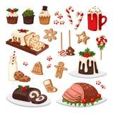 Grupo do vetor do alimento do Natal ilustração stock