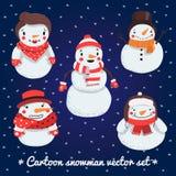Grupo do vetor do boneco de neve dos desenhos animados ilustração stock
