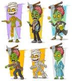 Grupo do vetor do caráter do monstro do zombi e da mamã dos desenhos animados ilustração do vetor