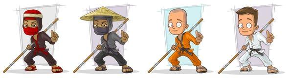 Grupo do vetor do caráter dos meninos e dos ninjas do karaté dos desenhos animados Foto de Stock