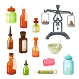 Grupo do vetor do farmacêutico Garrafas da medicina do vintage, escalas farmacêuticas Foto de Stock Royalty Free