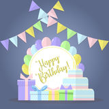 Grupo do vetor do feliz aniversario Imagem de Stock