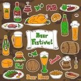 Grupo do vetor do festival da cerveja Fotografia de Stock