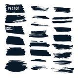 Grupo do vetor do Grunge com escovas da tinta Coleção abstrata dos elementos do projeto Coleção tirada mão Imagem de Stock