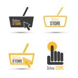 Grupo do vetor do logotipo da compra Conceito em linha da loja ilustração royalty free