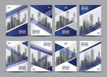 Grupo do vetor do negócio, disposição do molde do folheto, projeto azul da tampa Foto de Stock Royalty Free