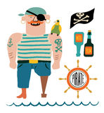 Grupo do vetor do pirata dos desenhos animados Pirata com um papagaio no ombro, bandeira com crânio e ossos, garrafas do rum e vo Foto de Stock Royalty Free