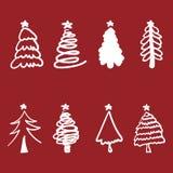 Grupo do vetor do projeto da silhueta da árvore de Natal Fotografia de Stock Royalty Free