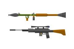 Grupo do vetor do rifle de atirador furtivo da metralhadora ilustração royalty free