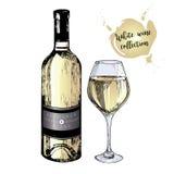 Grupo do vetor do vinho branco no estilo gravado do vintage Garrafa e vidro coloridos de vinho Isolado no fundo branco Fotografia de Stock