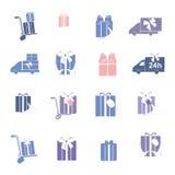 Grupo do vetor dos ícones coloridos atuais Presente, presente, ícones da cor da entrega Imagem de Stock Royalty Free