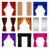Grupo do vetor dos ícones da cortina de janela ilustração do vetor