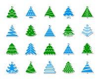 Grupo do vetor dos ícones da etiqueta do remendo da árvore de Natal ilustração do vetor
