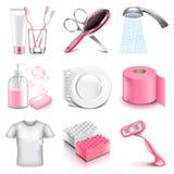 Grupo do vetor dos ícones da higiene ilustração stock
