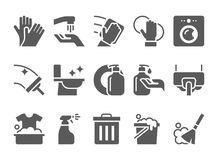 Grupo do vetor dos ícones da limpeza A higiene utiliza ferramentas sinais ilustração do vetor