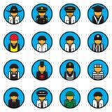 Grupo do vetor dos ícones da profissão avatar Símbolo do caráter Estilo liso Para a Web e o móbil Fotos de Stock