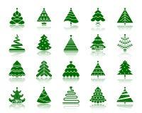 Grupo do vetor dos ícones da silhueta da cor da árvore de Natal ilustração do vetor