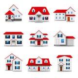Grupo do vetor dos ícones das casas ilustração royalty free