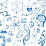Grupo do vetor dos ícones das garatujas das ciências ilustração royalty free