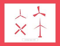Grupo do vetor dos ícones do moinho de vento Imagem de Stock