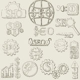 Grupo do vetor dos ícones do seo da tração da mão Imagens de Stock
