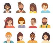 Grupo do vetor dos ícones dos povos Cara de ícones dos povos Cara do estilo dos desenhos animados dos ícones dos povos Caráteres  Fotografia de Stock