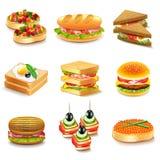 Grupo do vetor dos ícones dos sanduíches ilustração stock
