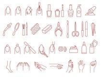 Grupo do vetor dos ícones do tratamento de mãos e do pedicure ilustração royalty free