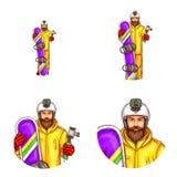 Grupo do vetor dos avatars masculinos no estilo do pop art ilustração royalty free
