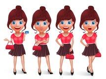 Grupo do vetor dos caráteres da menina da forma Modelos adolescentes da compra da mulher que guardam o saco ilustração stock