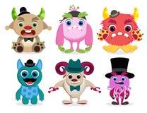 Grupo do vetor dos caráteres do monstro Criaturas bonitos e coloridas do animal do monstro dos desenhos animados ilustração royalty free
