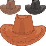 Grupo do vetor dos chapéus de vaqueiro de couro Imagens de Stock