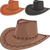 Grupo do vetor dos chapéus de vaqueiro de couro Fotografia de Stock