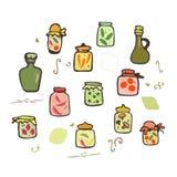 Grupo do vetor dos frascos da garatuja Imagens de Stock Royalty Free