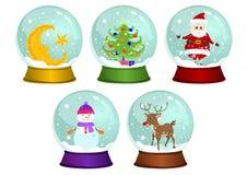 Grupo do vetor dos globos da neve do Natal Fotografia de Stock