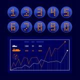 Grupo do vetor dos números de néon Foto de Stock Royalty Free