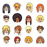 Grupo do vetor dos penteados das meninas dos desenhos animados ilustração royalty free