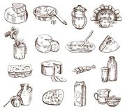 Grupo do vetor dos produtos de leite ilustração do vetor