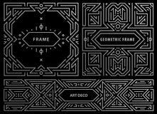 Grupo do vetor dos quadros do art deco, moldes abstratos do projeto geométrico para produtos luxuosos Composições lineares do orn ilustração stock
