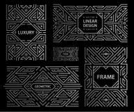 Grupo do vetor dos quadros do art deco, moldes abstratos do projeto geom?trico para produtos luxuosos Composi??es lineares do orn ilustração do vetor